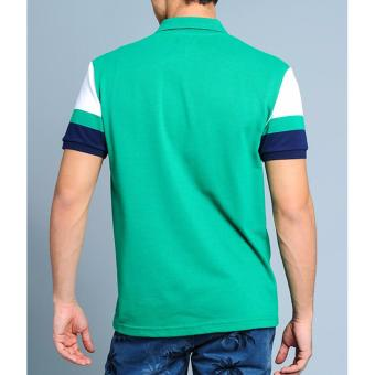 BENCH- BTC3838GR3 Men's Striped Sleeve Polo Shirt (Green) - 5