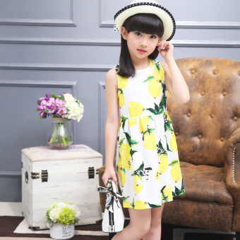 Big kid New style girls summer children's princess dress Dress (Lemon Models)
