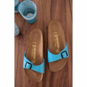 Birkenstock Women Madrid Birko-Flor Lack Flat Slippers (Mint Blue) - 3