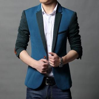 black 1521 New Slim Fit Mens Casual Jacket Single Button CottonBlazer Jacket Men Classic Mens Suit Jacket Patchwork Coat Men M-5XL- intl - 2