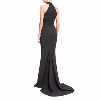 Black Fishtail Gown Hanging Neck Long Dress - intl - 2