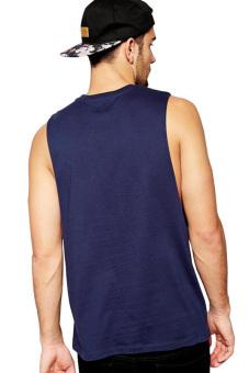 BLKSHP Dropped Armholes Sleeveless T-Shirt (Navy Blue) - 2