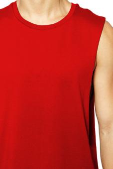 BLKSHP Dropped Armholes Sleeveless T-Shirt (Red) - 3