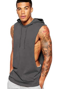 BLKSHP Xtreme Dropped Armholes Sleeveless with Hood and Raw Edgesin Charcoal
