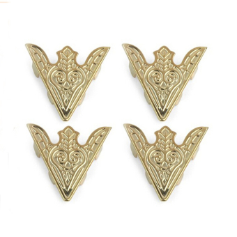 Blouse Shirt Metal Pointed Collar Clips Wing Tips Brooch Pin (Gold)