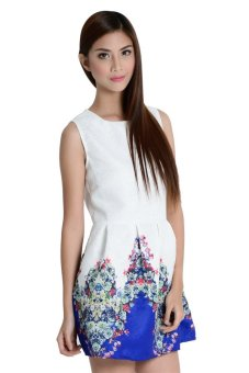 Blue and Flowers Dress By Fashion Haus Online (White/Blue)