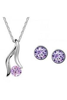 Blue lans Austrian Crystal Jewellery Set (Purple)