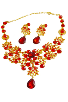 Blue lans Bridal Alloy Necklace Earrings Set (Red/Gold)