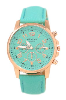 Blue lans Faux Leather Strap Watch (Turquoise)