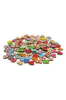 Blue lans Heart Shaped Sewing Buttons Set of 100 (Multicolor) - picture 2