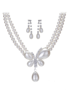 Blue lans Pearl Jewellery Set (White)