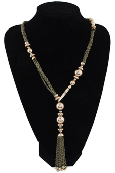 Blue lans Twisted Tassels Necklace (Beige) - picture 2