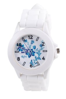 Blue lans Women's White Silicone Strap Watch