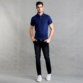 Blued Morgan-17 Men's Plain Polo Shirt (Indigo) - picture 4