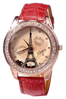 Bluelans Fashion Womens Red Faux Leather Strap Wrist Watch