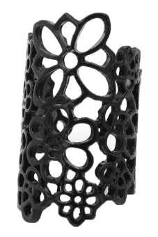 Bluelans Hollow Flower Alloy Opening Ring (Black) - picture 2