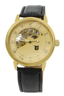 Bluelans Men's Mechanical Brown Leather Strap Watch