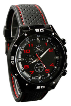 Bluelans Red Number Racer Military Pilot Silicone Sport Wrist Watch - picture 2