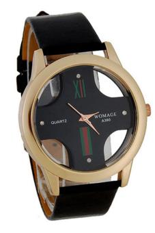 Bluelans Skeleton Dial Faux Leather Analog Wrist Watch