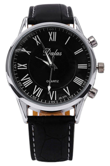 BlueLans Synthetic Black Leather Strap Watch