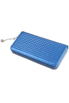 Bluelans® Women Zip PU Leather Clutch Case Wallet Purse (Blue)