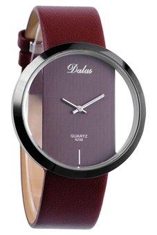 Bluelans Women's Transparent Dial Coffee Faux Leather Wristwatch