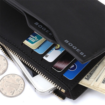 Bogesi Men's Short Multifunctional Leather Wallet with RemovableCard Slot and Coin Purse & Cell Phone Bag 835-7 (Black) - 3