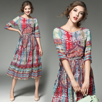 Bohemian chiffon printed spring and summer dress beach skirt
