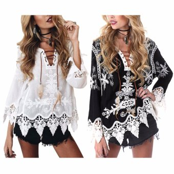 Bohemian embroidery Hallow out openwork lace shirts womencasual(Black) - intl - 4