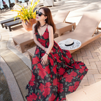 Bohemian female New style dress beach skirt (092 Black Rose)