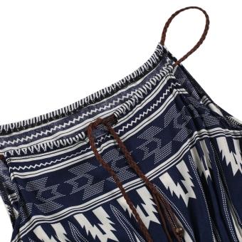 Bohemian Style Summer Women Strap Print Long Maxi Beach Dress - 5