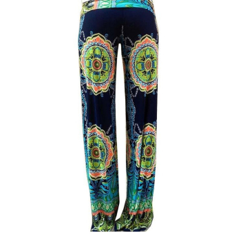 Bohemian Women's Elastic Fold-over Waist Casual Jogger Wide LegPalazzo Pants Trousers Size M