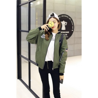 Bomber Jacket Fashion Coat Casual Jacket Outerwear For Woman (Armygreen) - intl