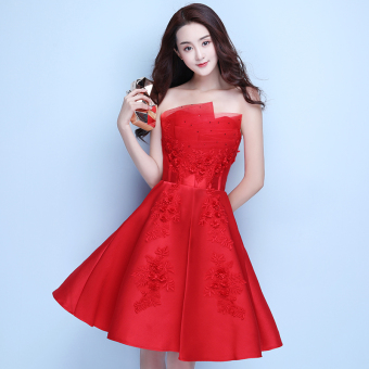 Boob tube top New style party wedding dress evening dress ([Red Wedding Dress] short)