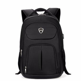 Boshikang Men Backpack Large Capacity Bagpack for Boys Daypack Laptop Back Pack Waterproof Oxford Black Student School Bag(Black) - intl - 2