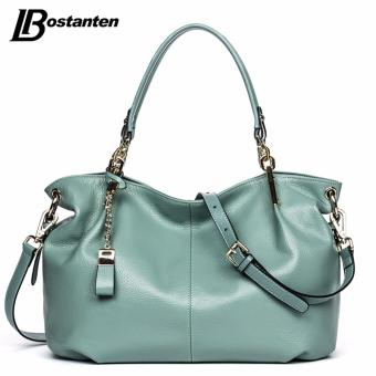 Bostanten Women's Genuine Cowhide Leather Handbag Fashion Shoulder Bag Light Green - intl