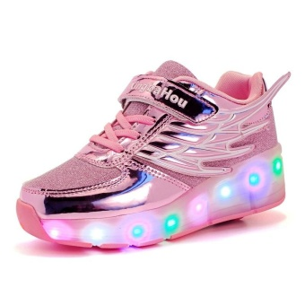 Boy And Girl's LED Light Up Roller Skate Shoes With Wheels Or Wings Outdoor Fashion Sneakers (Pink) - intl - 2