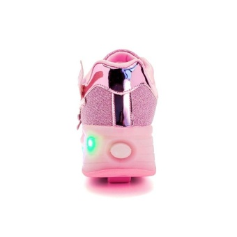 Boy And Girl's LED Light Up Roller Skate Shoes With Wheels Or Wings Outdoor Fashion Sneakers (Pink) - intl - 4