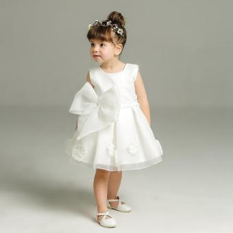 Brave Girl White Christening Baby Wedding Party Dress for Kids -intl