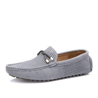 Breathable Genuine Leather Men's Loafers - Grey - 2