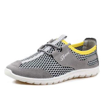 Breathable Mesh Men Low Cut Sneakers (Grey) - picture 2