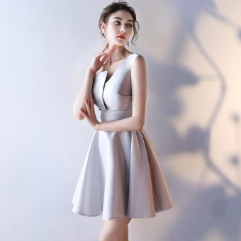 Bridal Gown Fashion Medium Long Term Thin Gules Marry EveningDress(Grey) - intl - 2