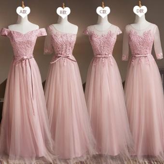 Bridesmaid Long Dress Shiny Lace Evening Dress - intl - 3