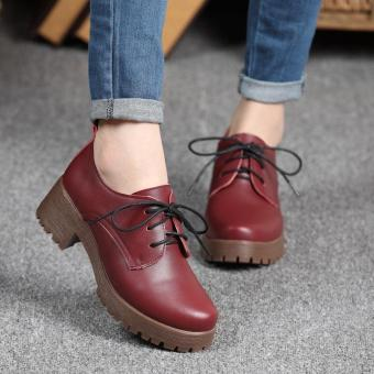 British Style Women Leather Shoes Fashion Thick Soles Casual Shoesfor Girls (Wine red) - intl Price Philippines