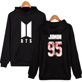 BTS Bangtan Boys Women Girls Harajuku Hoodies Sweatshirts FloralBTS Logo Women Autumn Winter Casual Hoodies BTS Kpop Hoodie Women'sSweatshirt Plus Size XXXXL JIMIN 95 (Black) - intl