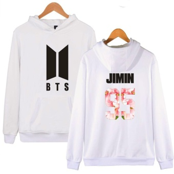 BTS Bangtan Boys Women Girls Harajuku Hoodies Sweatshirts FloralBTS Logo Women Autumn Winter Casual Hoodies BTS Kpop Hoodie Women'sSweatshirt Plus Size XXXXL JIMIN 95 (White) - intl