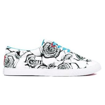Bucketfeet Roses Women Lace Up Sneakers (White Blue) - 2