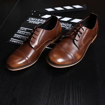 Bullock Leather British Male Pointed Business Shoes(brown) - Intl Price Philippines