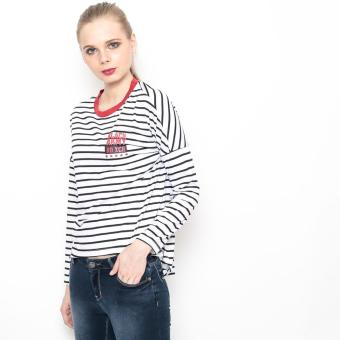 Bum Ladies Striper Long Tee (White/Black/Red) - 3