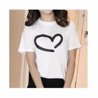 Buy 1 Take 1 Cotton Shirts With Heart Style Print - Black and White - 4